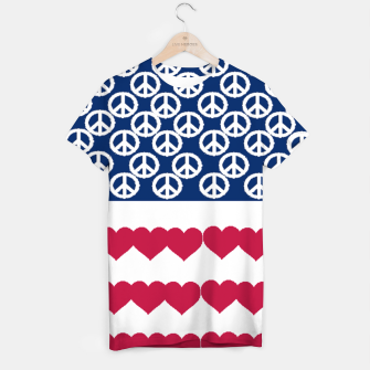 Thumbnail image of 4 july iindependence day love & peace usa flag T-shirt, Live Heroes