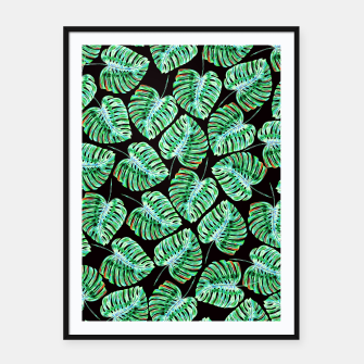 Rain of tropical leaves Framed poster obraz miniatury