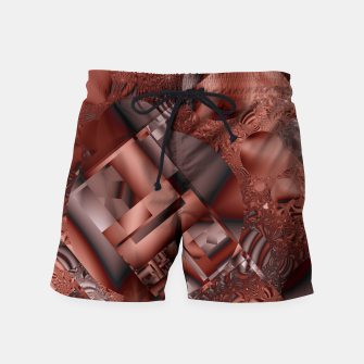 Thumbnail image of structures dark red Swim Shorts, Live Heroes