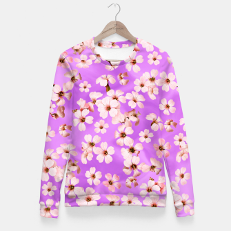 Miniaturka Small Flowers on purple wall Fitted Waist Sweater, Live Heroes