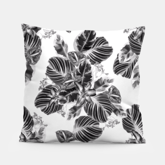Miniaturka Tropical exotic flowers and leaves monochrome Pillow, Live Heroes