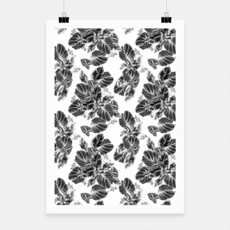 Miniaturka Tropical exotic flowers and leaves monochrome Poster, Live Heroes