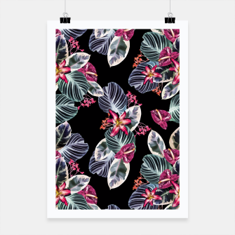Miniaturka Tropical print with leaves and flowers Poster, Live Heroes