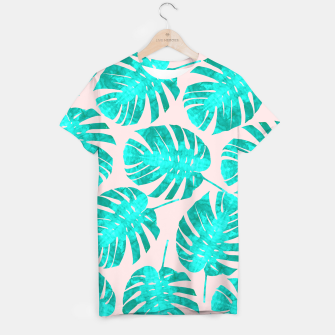 Thumbnail image of Green tropical leaves on pink background T-shirt, Live Heroes