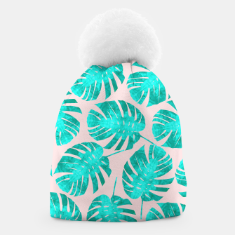 Thumbnail image of Green tropical leaves on pink background Beanie, Live Heroes