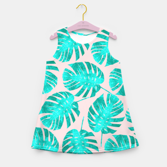 Thumbnail image of Green tropical leaves on pink background Girl's Summer Dress, Live Heroes