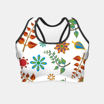 Miniatur Retro flowers and leafs  Crop Top, Live Heroes