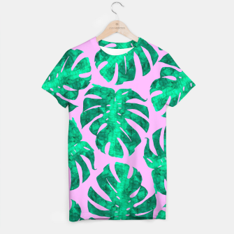 Thumbnail image of Tropical leaves on pink background T-shirt, Live Heroes