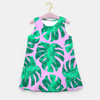 Thumbnail image of Tropical leaves on pink background Girl's Summer Dress, Live Heroes