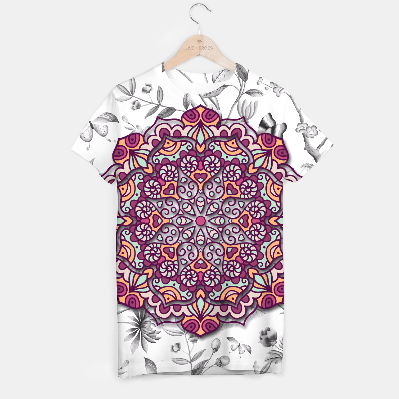 Image of FLORAL MANDALA T-shirt - Live Heroes