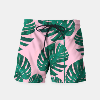 Thumbnail image of Tropical leaves on pink background Swim Shorts, Live Heroes
