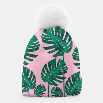 Thumbnail image of Tropical leaves on pink background Beanie, Live Heroes