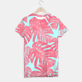 Thumbnail image of Tropical leaves pink T-shirt, Live Heroes