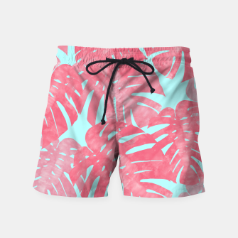Thumbnail image of Tropical leaves pink Swim Shorts, Live Heroes