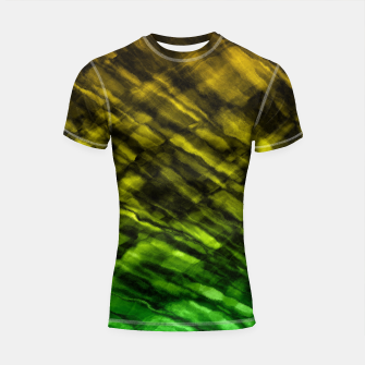 Thumbnail image of Rock Pool in Green and Gold Shortsleeve Rashguard, Live Heroes