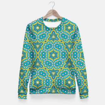 Thumbnail image of GREEN AND BLUE MANDALA PATTERN Fitted Waist Sweater, Live Heroes