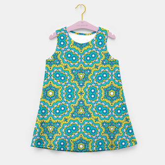 Thumbnail image of GREEN AND BLUE MANDALA PATTERN Girl's Summer Dress, Live Heroes