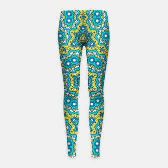 Thumbnail image of GREEN AND BLUE MANDALA PATTERN Girl's Leggings, Live Heroes