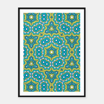 Thumbnail image of GREEN AND BLUE MANDALA PATTERN Framed poster, Live Heroes