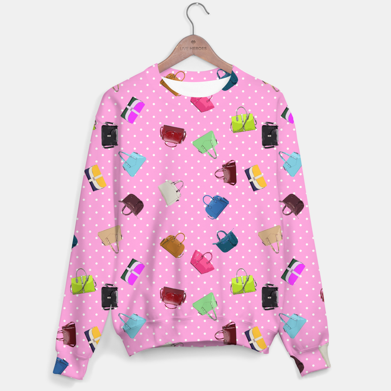 Image of Purses, Polka Dots and Pink Background Sweater - Live Heroes