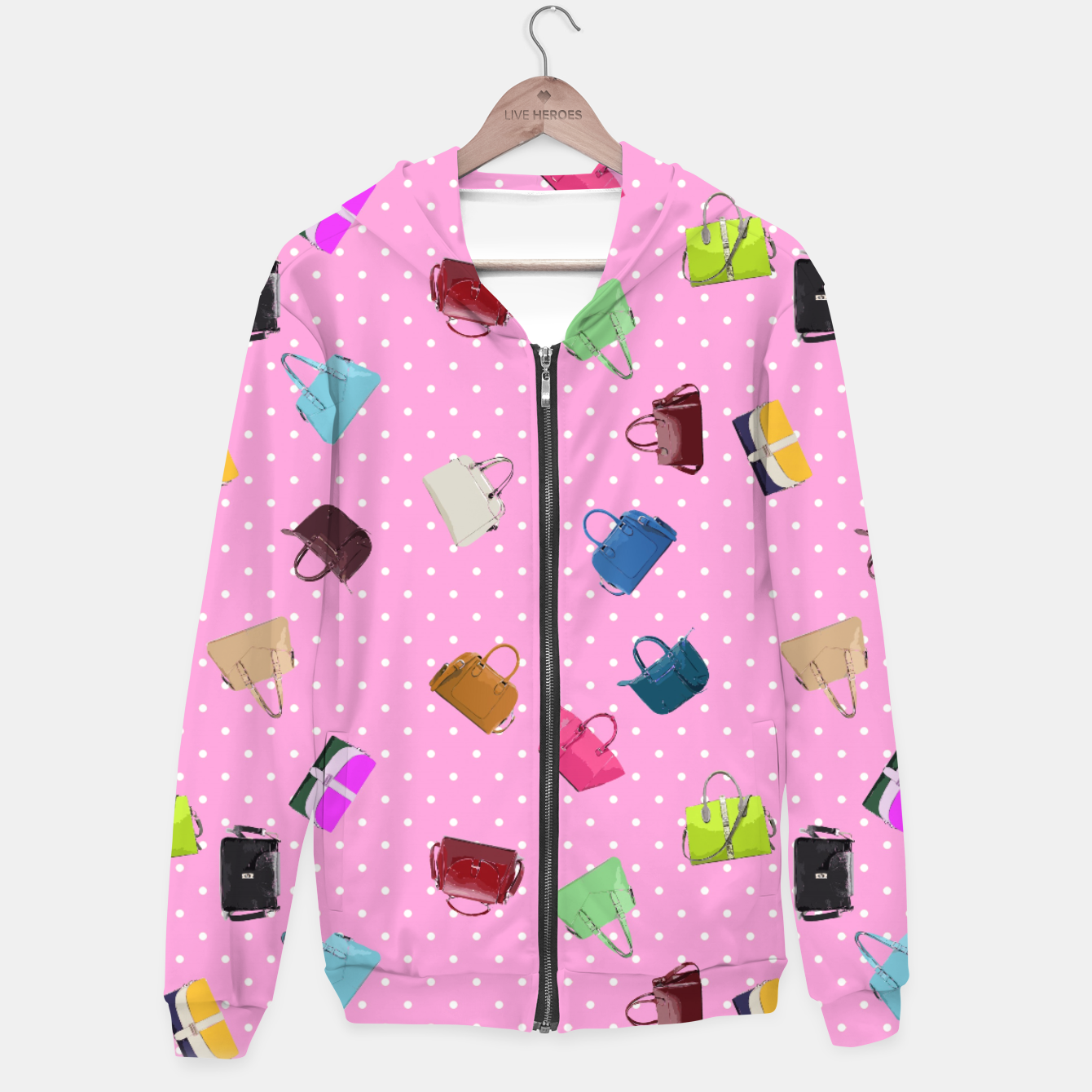 Image of Purses, Polka Dots and Pink Background Hoodie - Live Heroes