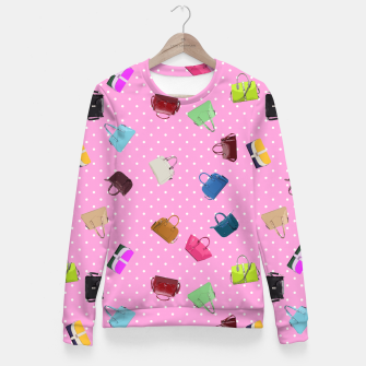 Thumbnail image of Purses, Polka Dots and Pink Background Fitted Waist Sweater, Live Heroes