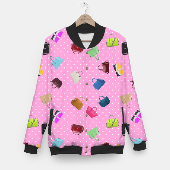 Thumbnail image of Purses, Polka Dots and Pink Background Baseball Jacket, Live Heroes