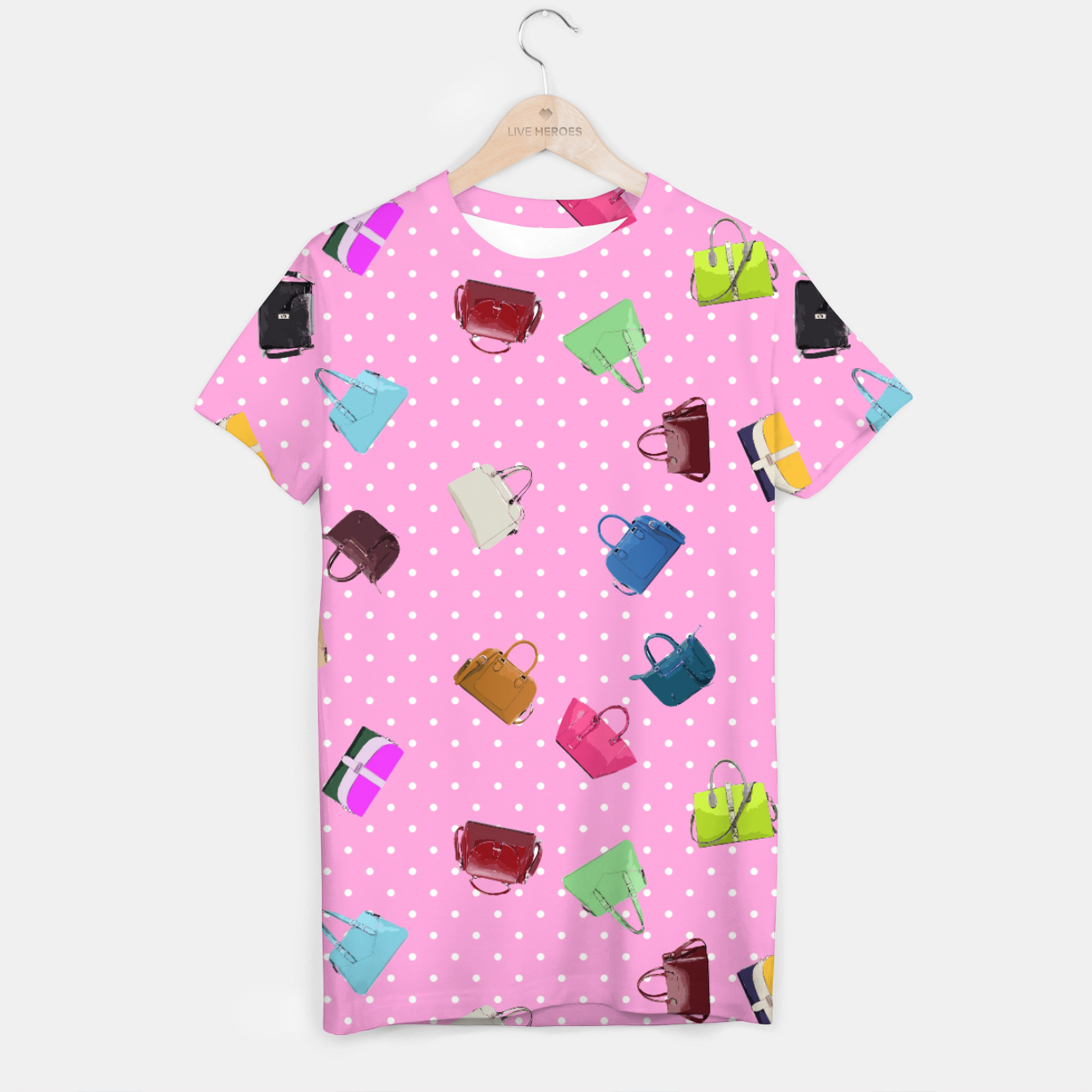Image of Purses, Polka Dots and Pink Background T-shirt - Live Heroes