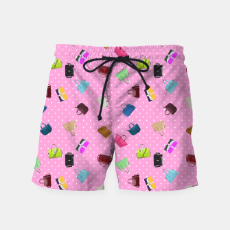 Purses, Polka Dots and Pink Background Swim Shorts thumbnail image