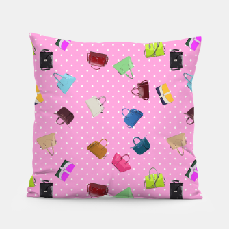 Purses, Polka Dots and Pink Background Pillow thumbnail image