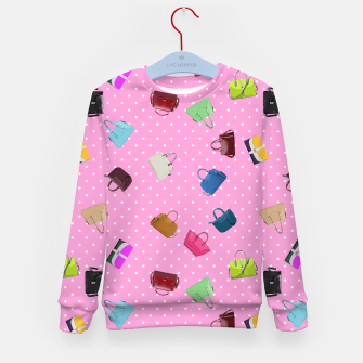 Thumbnail image of Purses, Polka Dots and Pink Background Kid's Sweater, Live Heroes