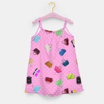 Purses, Polka Dots and Pink Background Girl's Dress thumbnail image