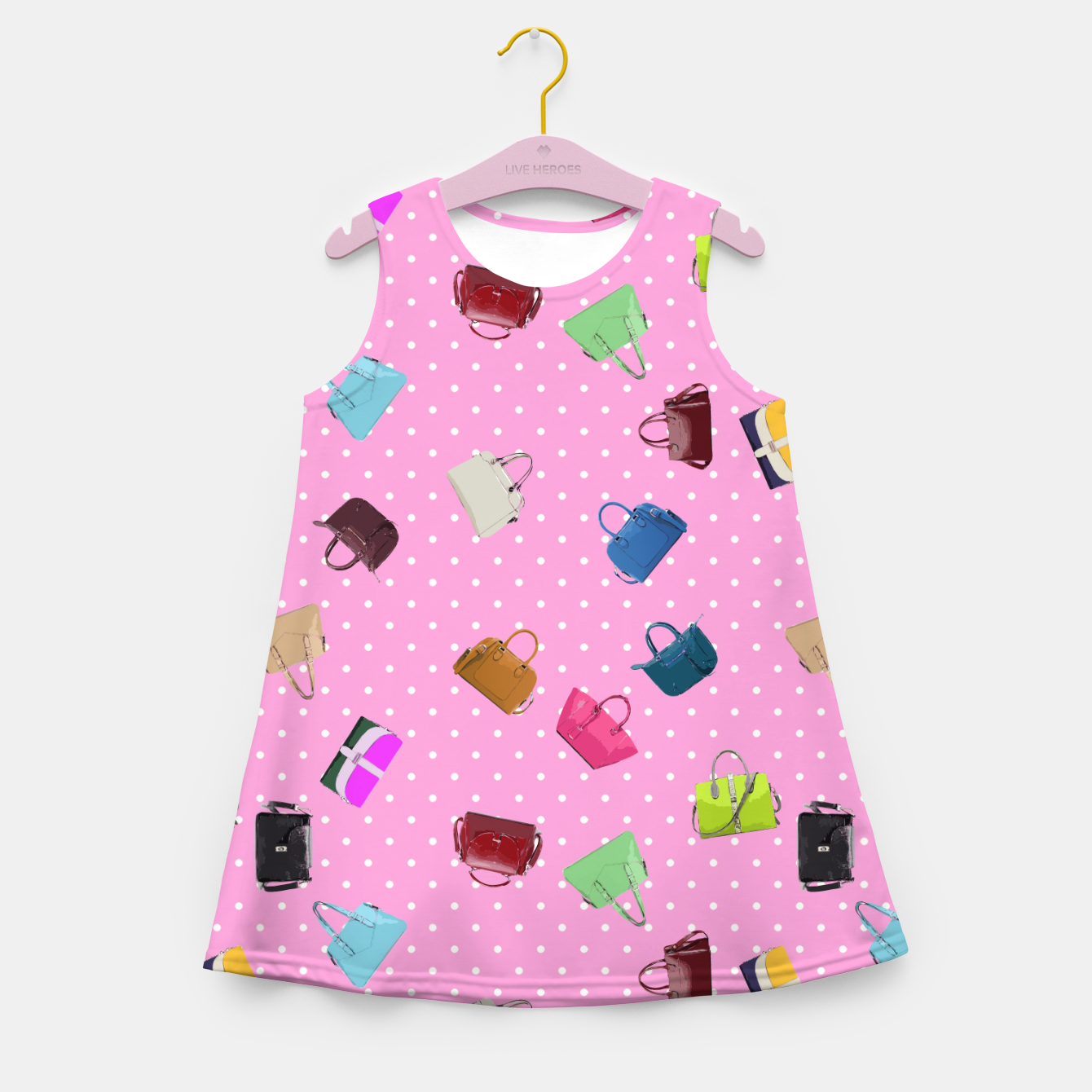 Image of Purses, Polka Dots and Pink Background Girl's Summer Dress - Live Heroes