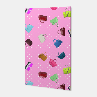 Purses, Polka Dots and Pink Background Canvas thumbnail image