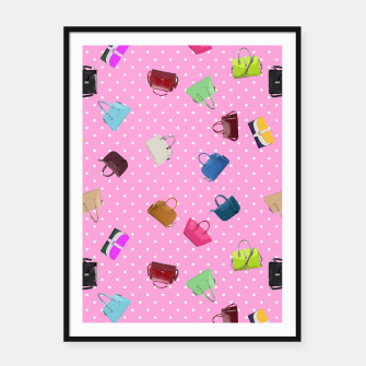 Thumbnail image of Purses, Polka Dots and Pink Background Framed poster, Live Heroes