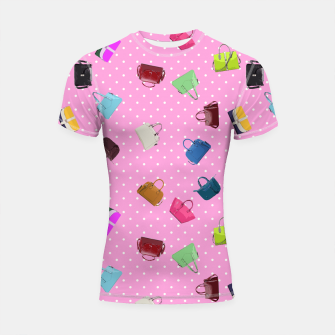 Thumbnail image of Purses, Polka Dots and Pink Background Shortsleeve Rashguard, Live Heroes