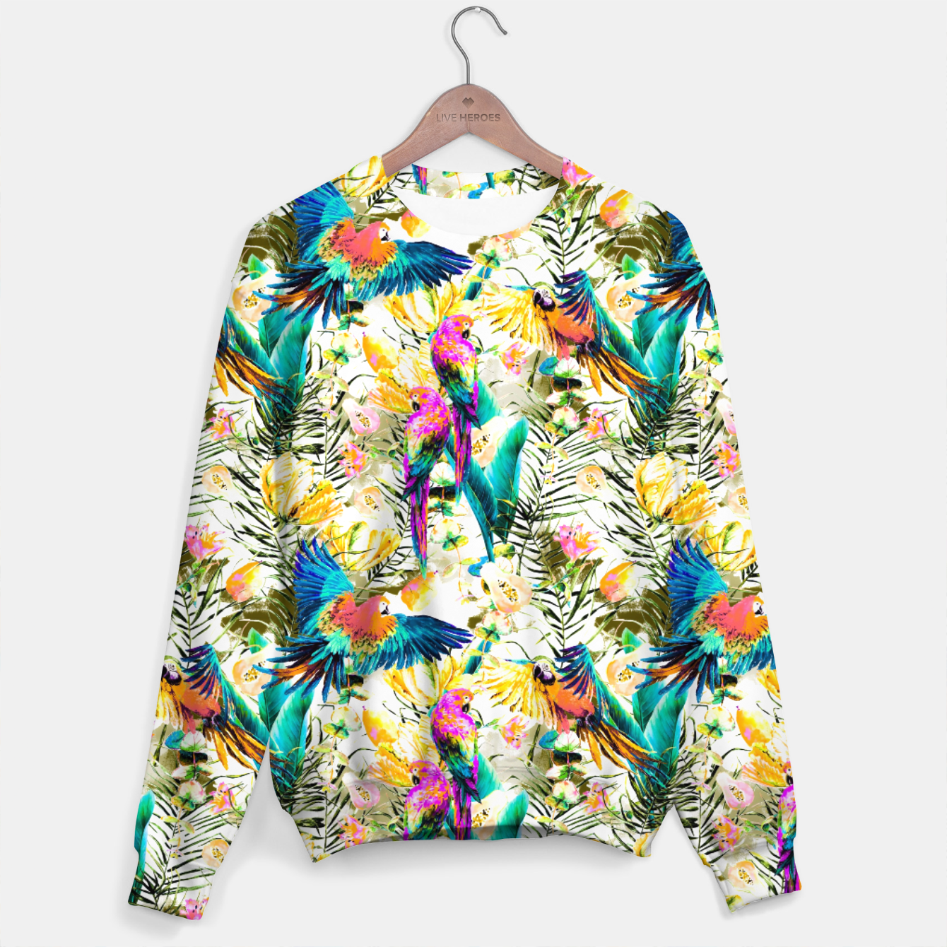 Image of Jungle of fruit with tropical parrots Sudadera - Live Heroes