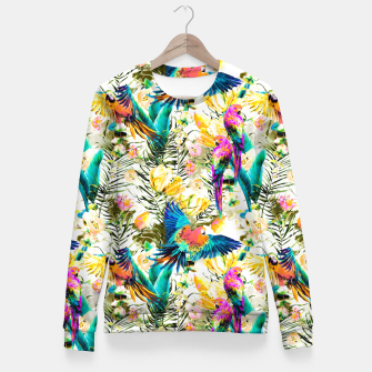 Miniaturka Jungle of fruit with tropical parrots Sudadera entallada, Live Heroes