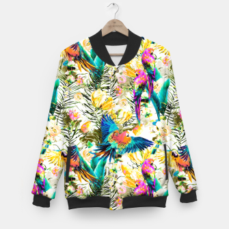 Imagen en miniatura de Jungle of fruit with tropical parrots Chaqueta de béisbol, Live Heroes