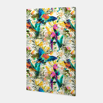 Jungle of fruit with tropical parrots Canvas thumbnail image