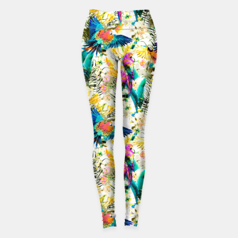Thumbnail image of Jungle of fruit with tropical parrots Leggings, Live Heroes