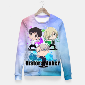 Thumbnail image of Yuri On Ice History Maker Fitted Waist Sweater, Live Heroes