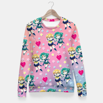 Thumbnail image of Sailor Moon Uranus & Neptune Pattern Fitted Waist Sweater, Live Heroes