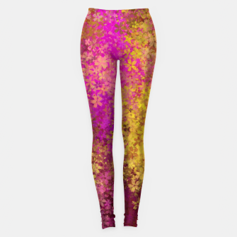 Thumbnail image of flower pattern abstract background in pink and yellow Leggings, Live Heroes