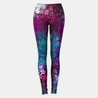 Thumbnail image of flower pattern abstract background in purple pink blue green Leggings, Live Heroes