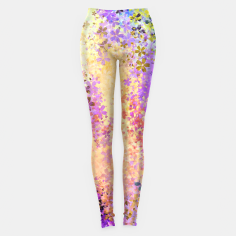 Thumbnail image of flower pattern abstract background in purple yellow blue green Leggings, Live Heroes
