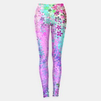Thumbnail image of flower pattern abstract background in pink purple blue green Leggings, Live Heroes