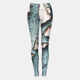 Rustic old light blue green peeling paint Leggings thumbnail image