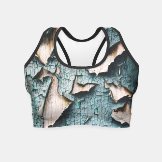 Rustic old light blue green peeling paint Crop Top thumbnail image