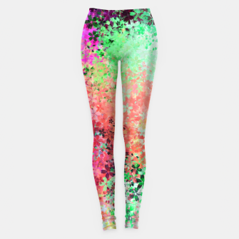 Thumbnail image of flower pattern abstract background in green pink purple blue Leggings, Live Heroes
